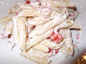 pennette ricotta pomodorini e gamberetti